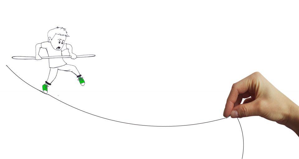 Kötéltáncon egyensúlyozó emberke rajzfigura.