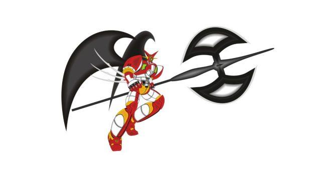 Pirosba öltözött harcos robot két nagy bárddal a kezében